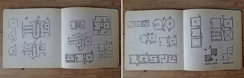 اسکیس های اولیه طراحی لوگو نگارخانه فربد