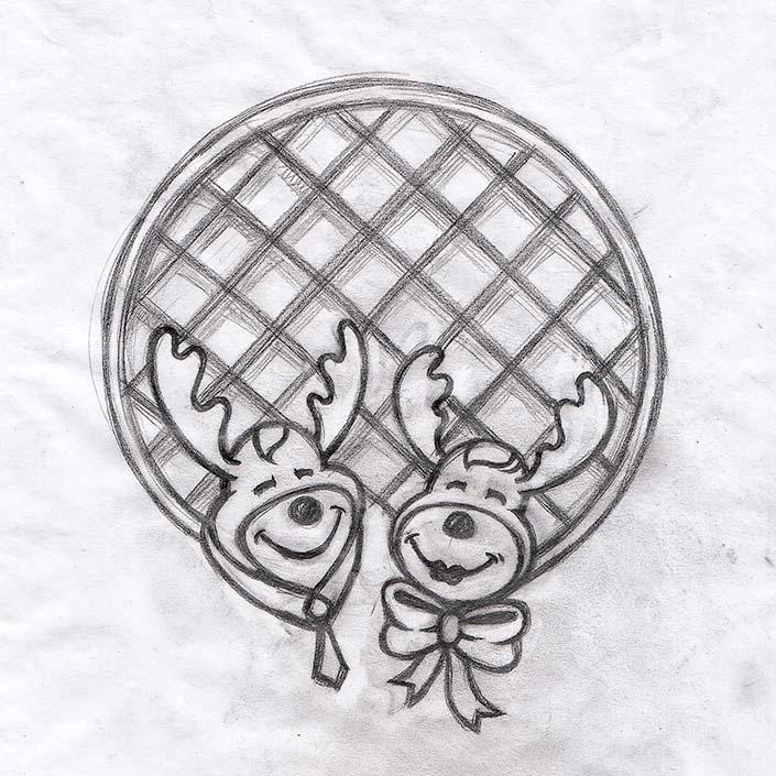 اسکیس مدادی طراحی لوگو شرکت خانم و آقای وافل