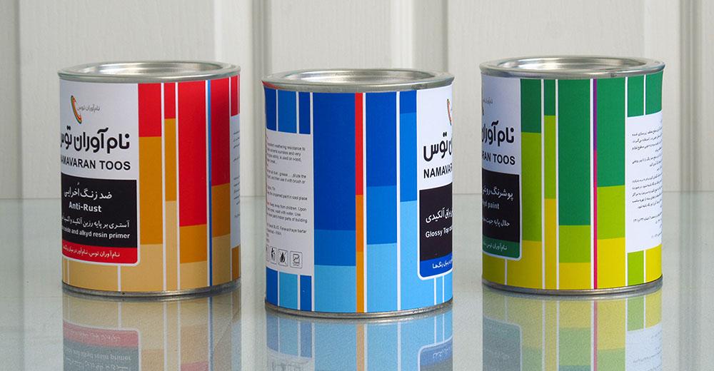 طراحی لیبل قوطی رنگ روغن و ضد زنگ شرکت نام آوران توس