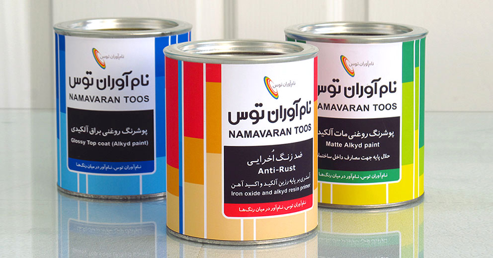 طراحی لیبل قوطی رنگ- شرکت نام آوران توس