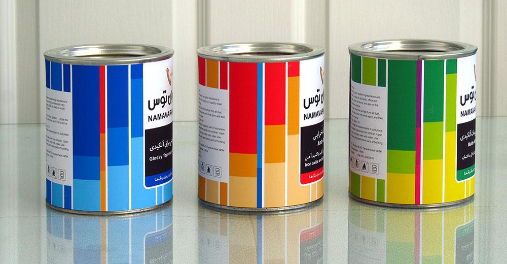 طراحی برچسب قوطی رنگ-شرکت نام آوران توس