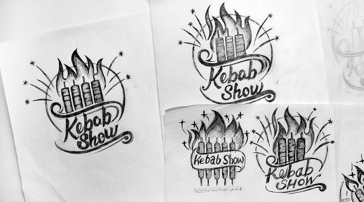 اتود طراحی لوگو - فروشگاه کباب شو