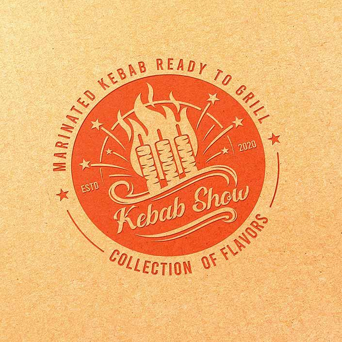 کباب شو - طراحی نسخه تک رنگ لوگو بر روی لفاف